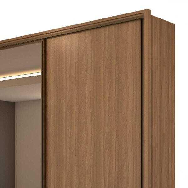 Guarda Roupa Casal com Espelho 3 Portas de Correr 6 Gavetas Spazio Glass Lopas