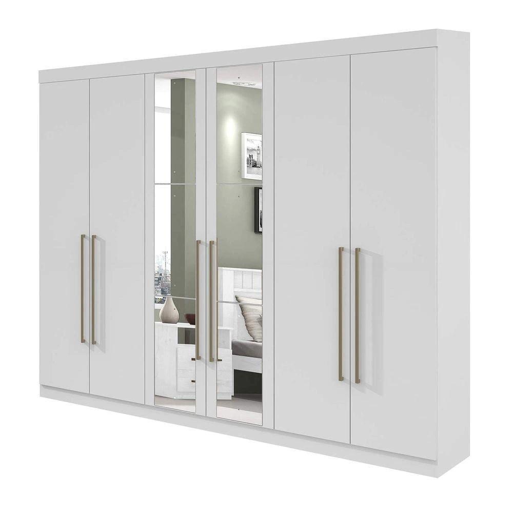 Guarda Roupa Casal com Espelho 6 Portas 4 Gavetas Castellaro Branco - Lopas