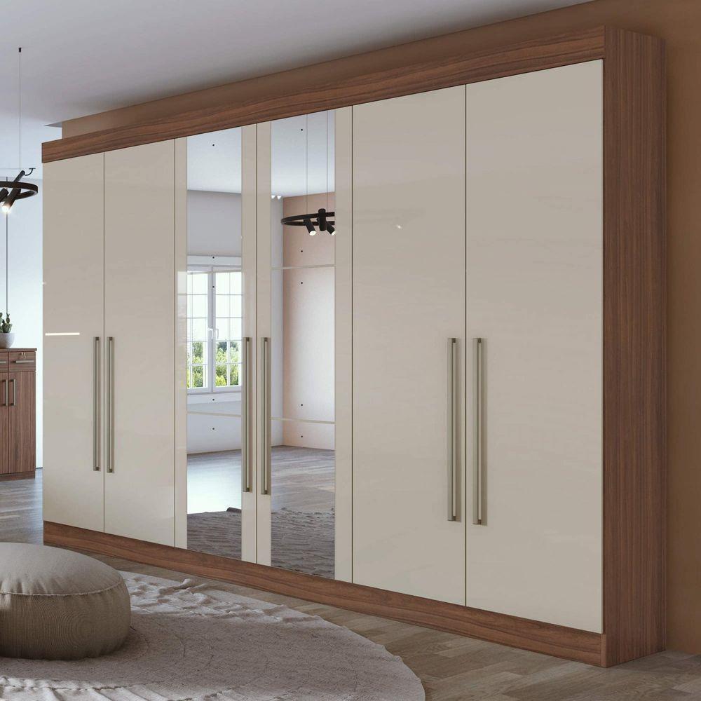 Guarda Roupa Casal com Espelho 6 Portas 4 Gavetas Castellaro Imbuia Naturale/Off White - Lopas