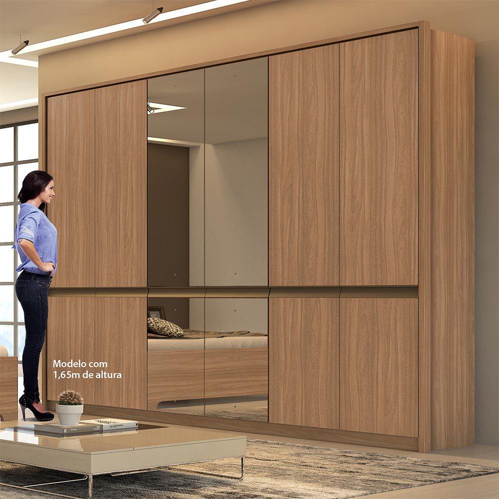 Guarda Roupa Casal com Espelho 6 Portas 6 Gavetas Urban Glass Carvalho Naturale - Lopas