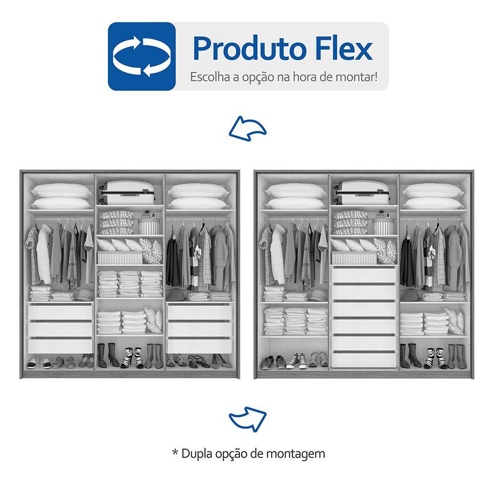 Guarda Roupa Casal com Espelho 6 Portas 6 Gavetas Urban Glass Imbuia Naturale - Lopas