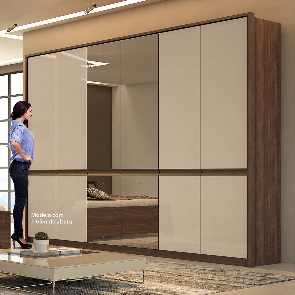 Guarda Roupa Casal com Espelho 6 Portas 6 Gavetas Urban Glass Imbuia Naturale/Off White - Lopas