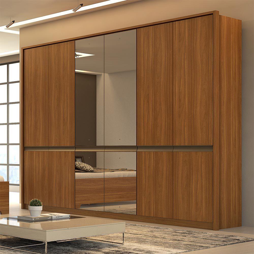 Guarda Roupa Casal com Espelho 6 Portas 6 Gavetas Urban Glass Rovere Naturale - Lopas