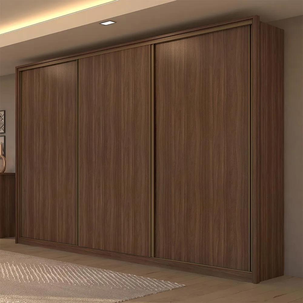 Guarda Roupa Casal sem Espelho 3 Portas 6 Gavetas Spazio Imbuia Naturale/Off White/Imbuia Naturale - Lopas