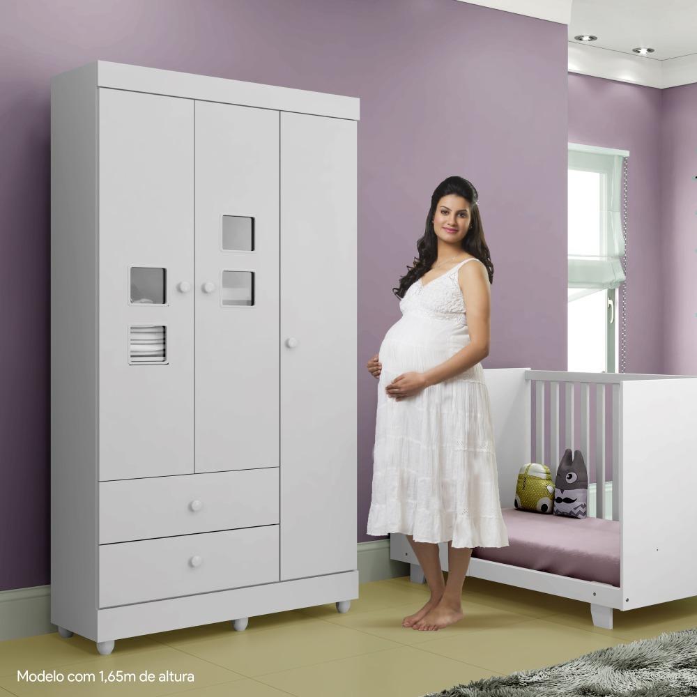 Guarda Roupa de Bebê 3 Portas 2 Gavetas Life - Branco -Tigus Baby