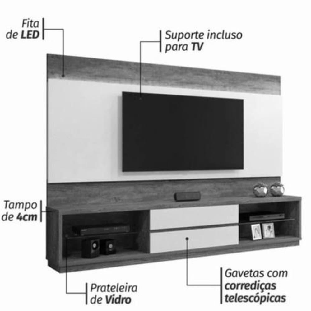 """Home Istambul S/Esp TV até 65"""" - Canion/Off White - Mavaular"""