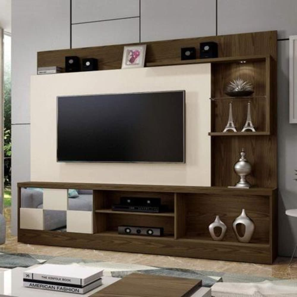 Home para TV até 65 Polegadas  c/ Espelho Dinamarca Plus - Canion Soft/Off White - Mavaular