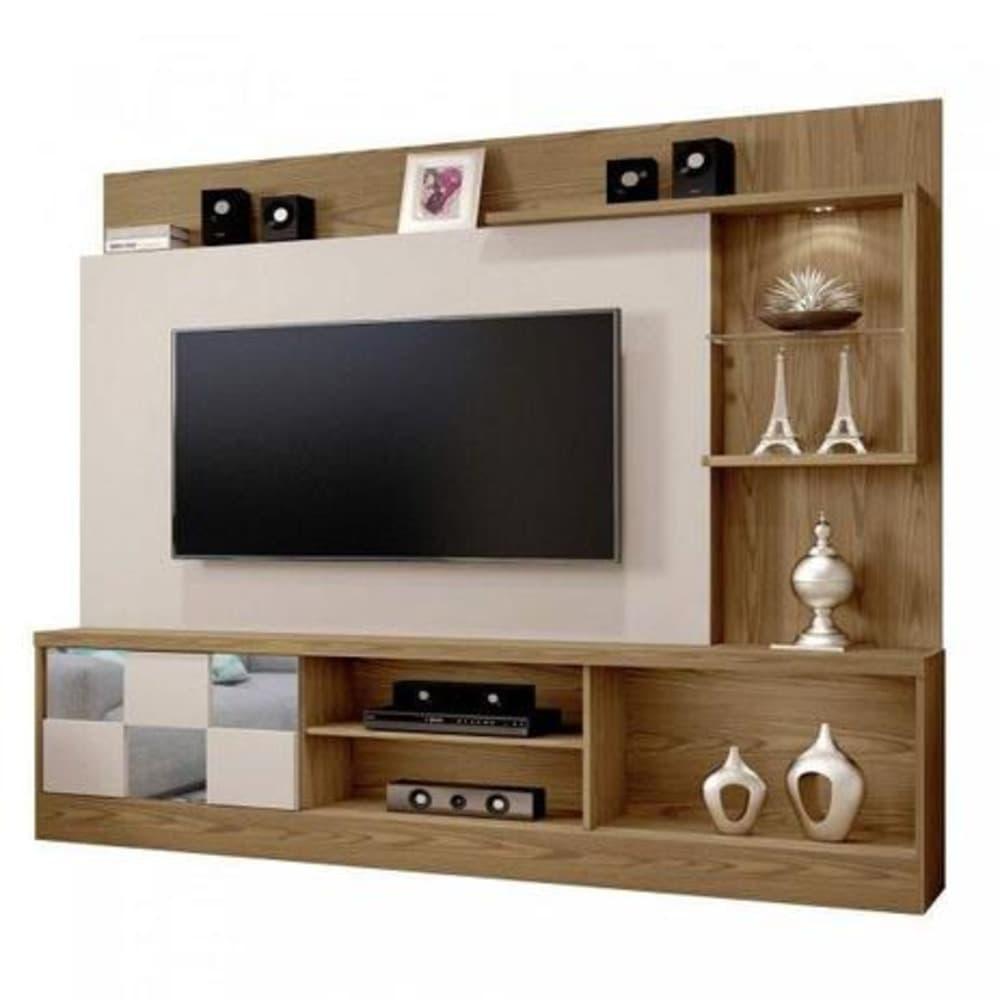 Home para TV até 65 Polegadas c/ Espelho Dinamarca Plus  -  Damasco Soft/Off White - Mavaular