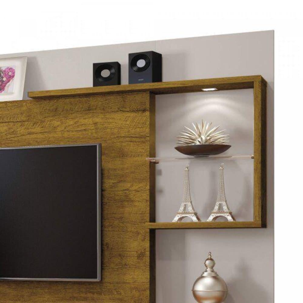 Home para TV até 65 Polegadas  c/ Espelho Dinamarca Plus  - Off White/ Mel - Mavaular