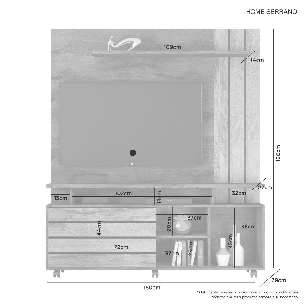 Home Serrano Cacau Grigio/Cacau Off - Flex - JCM Movelaria