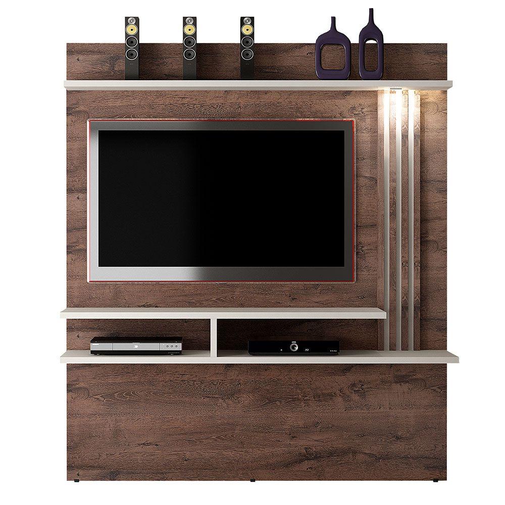 """Home Suspenso com LED Para TV Até 55"""" Tóquio Castanho/Off White - Valdemóveis"""