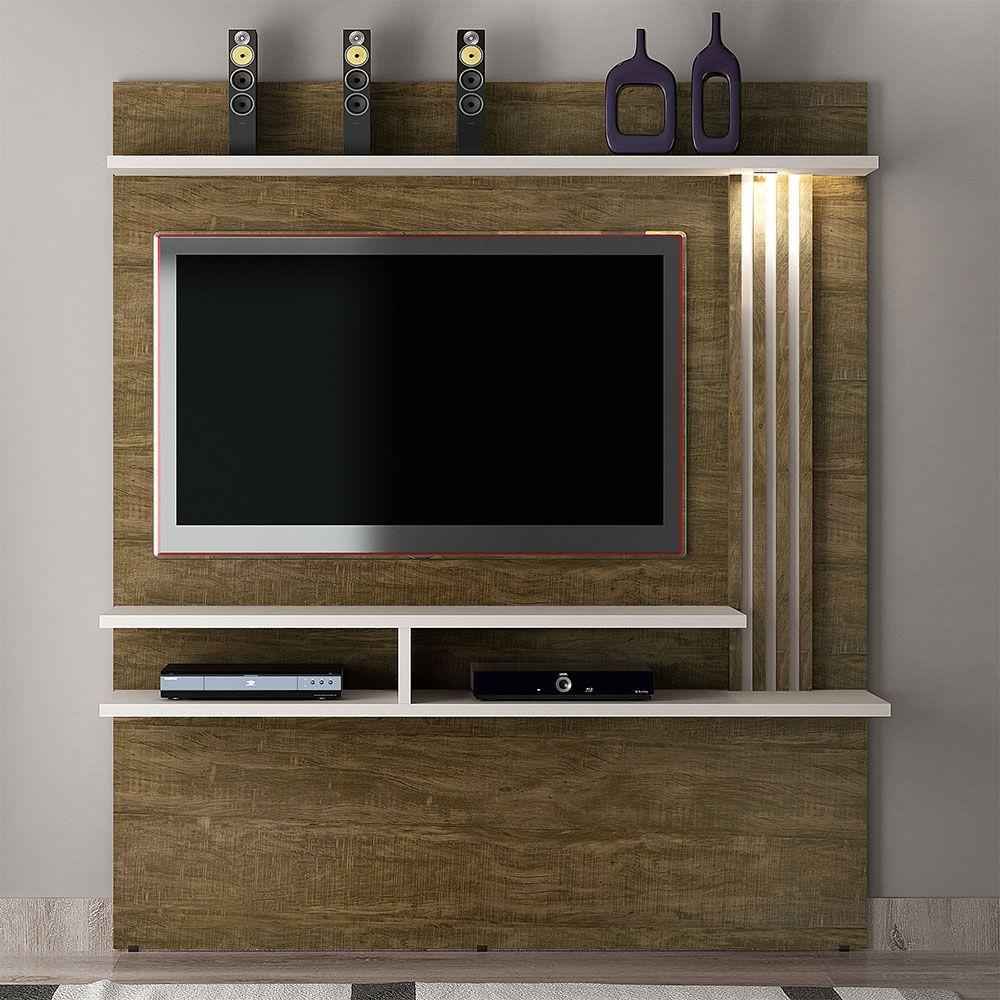 """Home Suspenso com LED Para TV Até 55"""" Tóquio Ipê/Off White - Valdemóveis"""