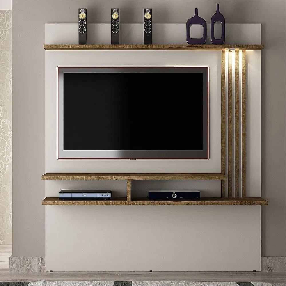 """Home Suspenso com LED Para TV Até 55"""" Tóquio Off White/Ipê - Valdemóveis"""