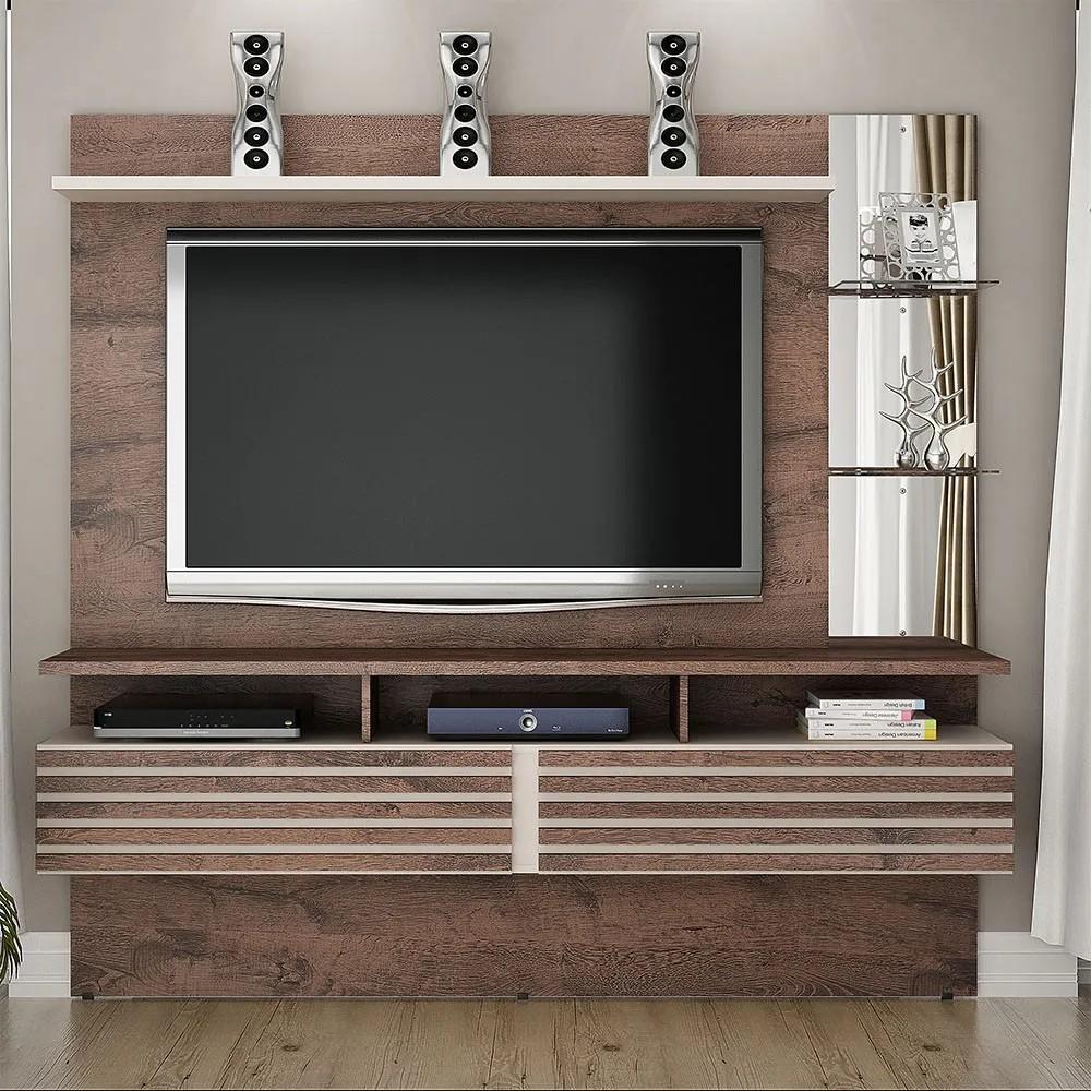 """Home Suspenso Para TV até 65"""" Miami Castanho/Off White - Valdemóveis"""