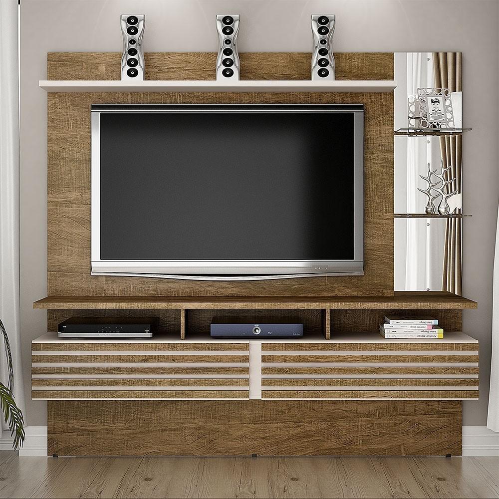 "Home Suspenso Para TV até 65"" Miami Ipê/Off White - Valdemóveis"