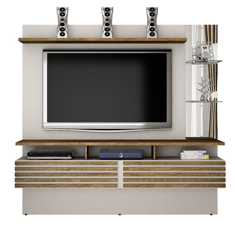 "Home Suspenso Para TV até 65"" Miami Off White/Ipê - Valdemóveis"