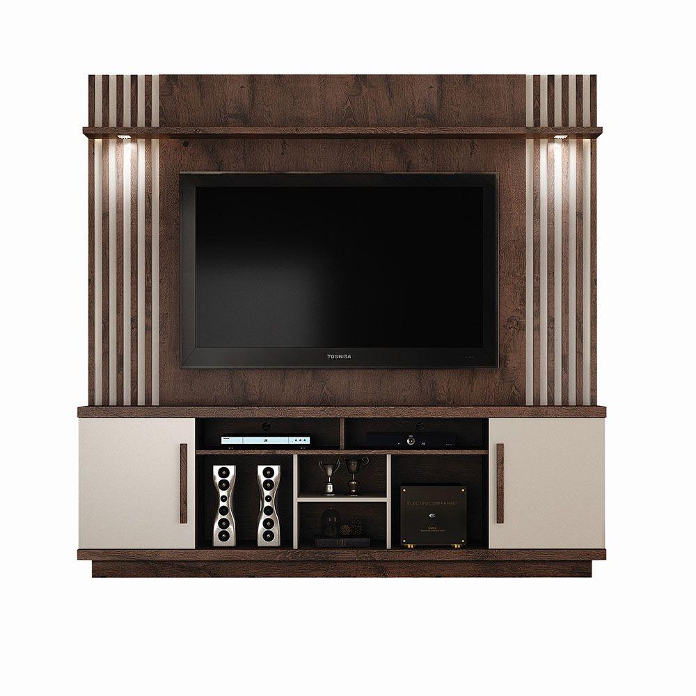 Home Theater para TV até 60 polegadas Plenus Castanho/Off White - Valdemóveis
