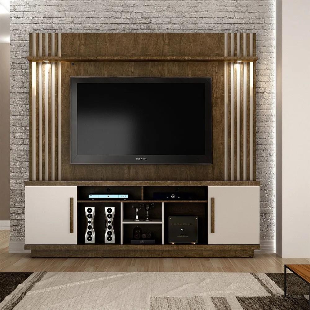 Home Theater para TV até 60 polegadas Plenus Ipê/Off White - Valdemóveis