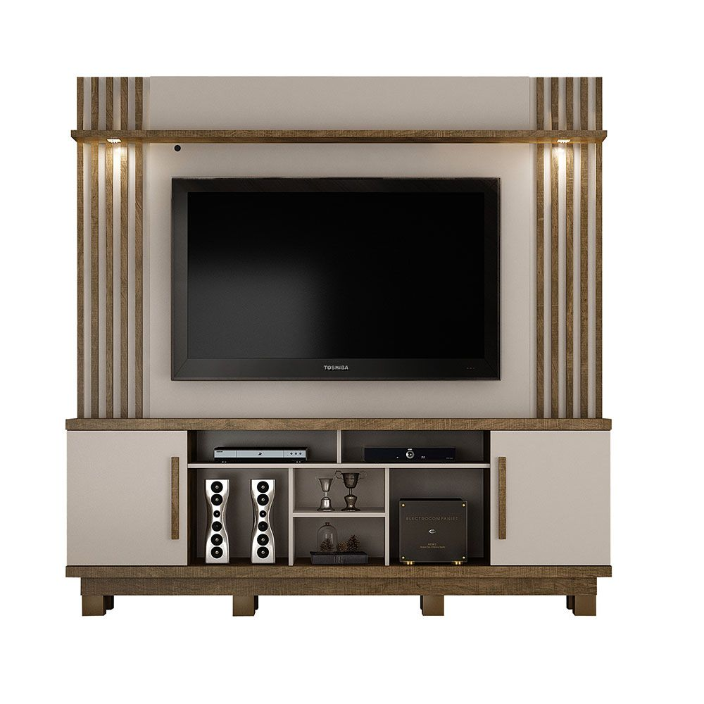 Home Theater para TV até 60 polegadas Plenus Off White/Ipê - Valdemóveis