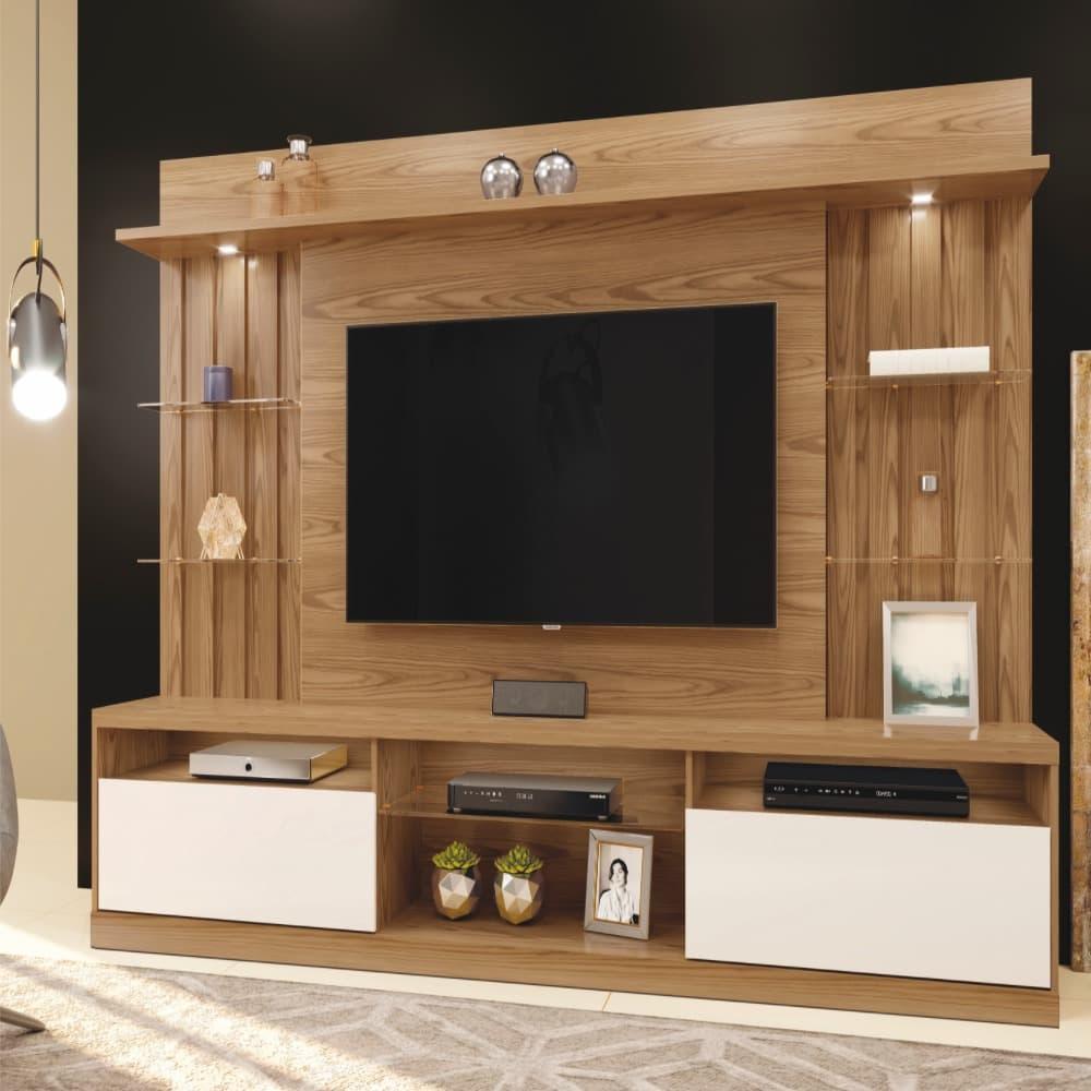 "Home TV até 58"" Amsterdã - Damasco/Off White - Mavaular"