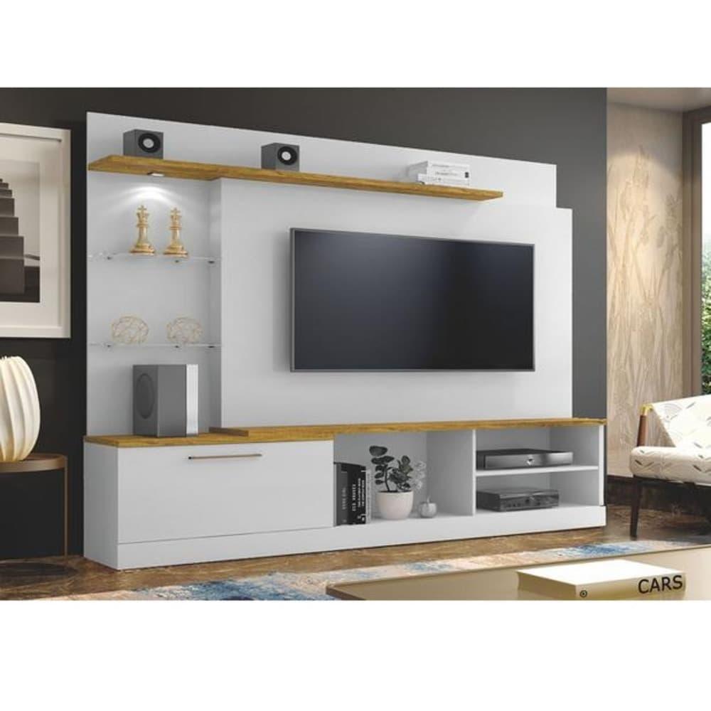 """Home TV até 60"""" Florida - Branco/Damasco Soft - Mavaular"""
