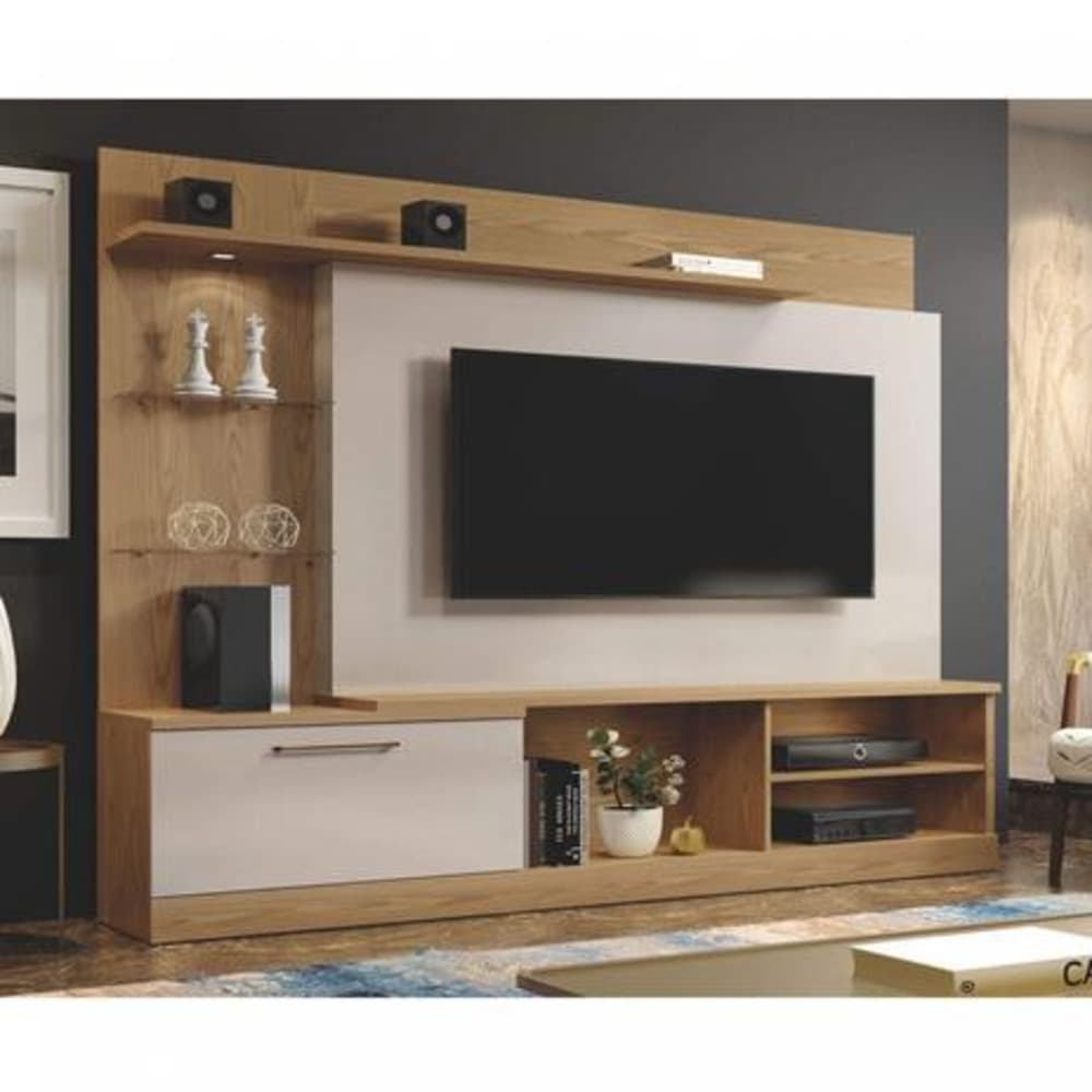 """Home TV até 60"""" Florida - Damasco Soft/Off White - Mavaular"""