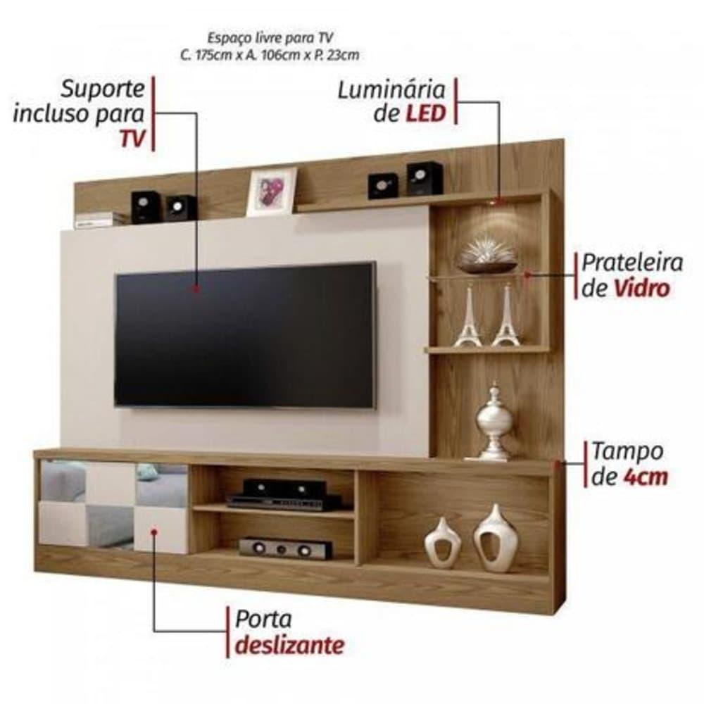 """Home TV até 65"""" c/ Esp Dinamarca Damasco/OffWhite - Mavaular"""