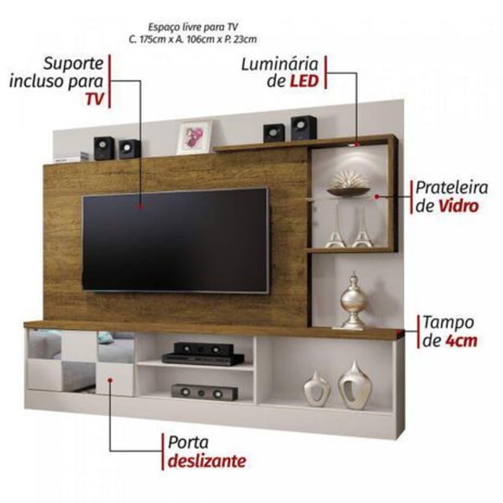 """Home TV até 65"""" c/ Esp Dinamarca Off White/Canion - Mavaular"""