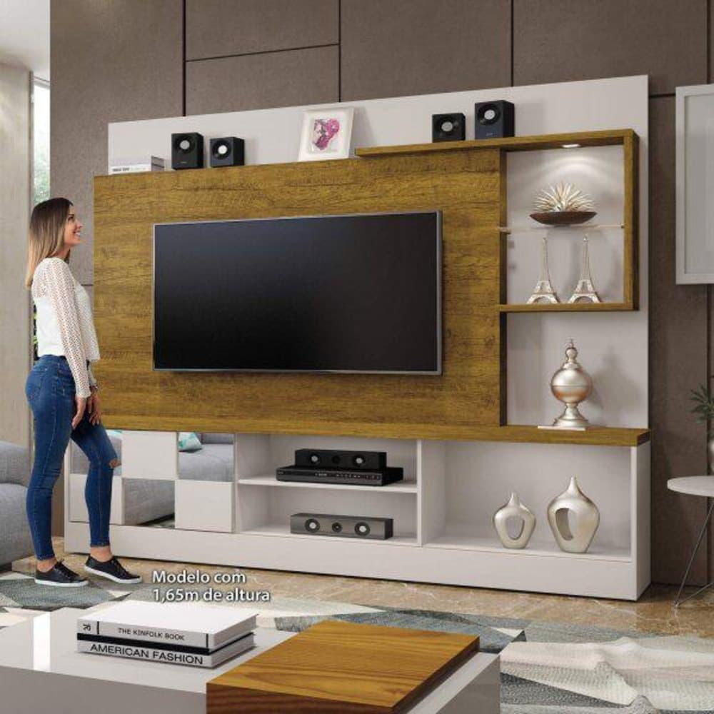 """Home TV até 65"""" c/Esp Dinamarca Off White/Mel - Mavaular"""