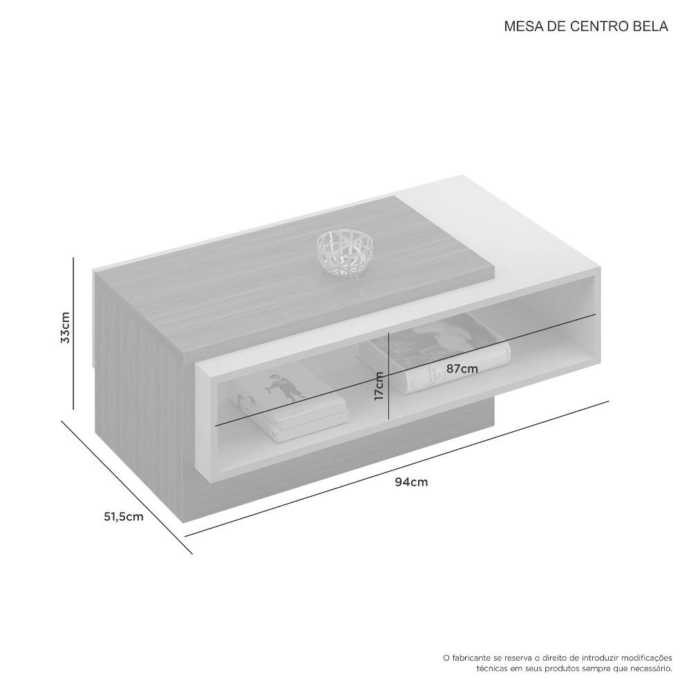 Mesa Centro Bela Cacau E Grigio - JCM Movelaria