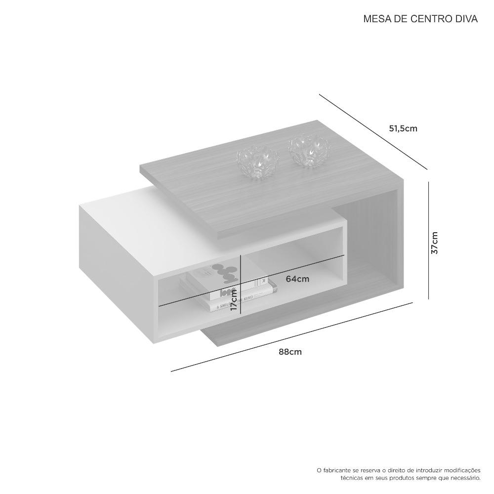 Mesa Centro Diva Cacau E Grigio - JCM Movelaria