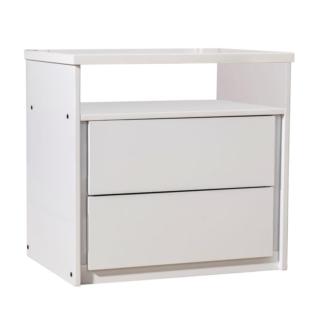 Mesa de Cabeceira 2 Gavetas Unique Liso Branco - JOSANDRO