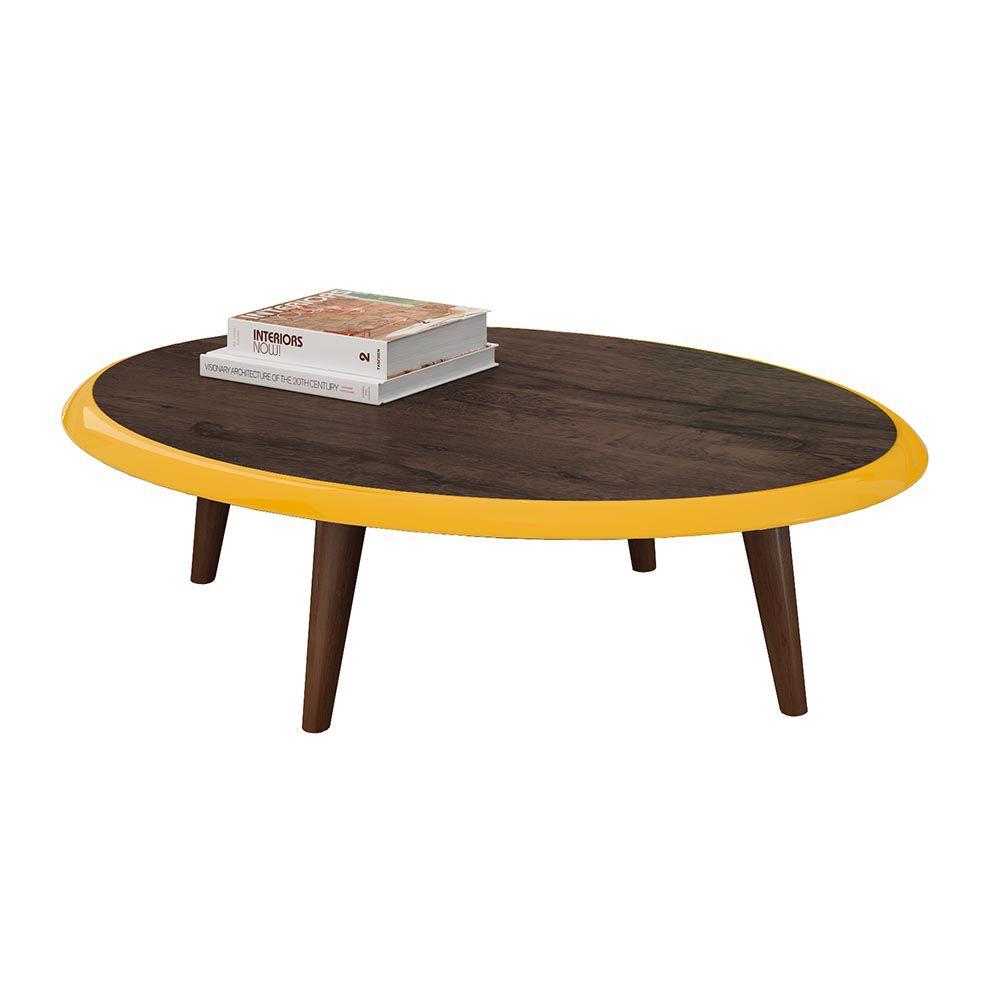 Mesa de Centro Aura Cacau/Amarelo Jcm Movelaria