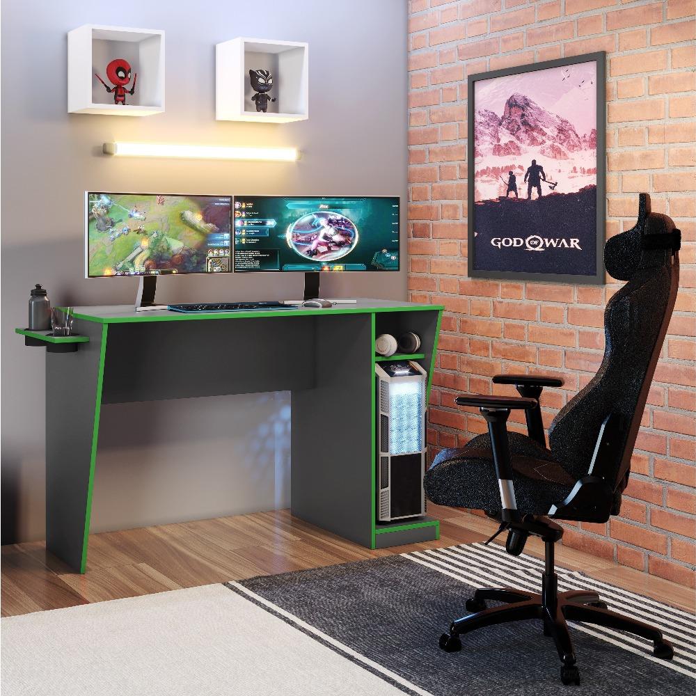 Mesa Gamer Cyber Grafite E Verde - JCM Movelaria