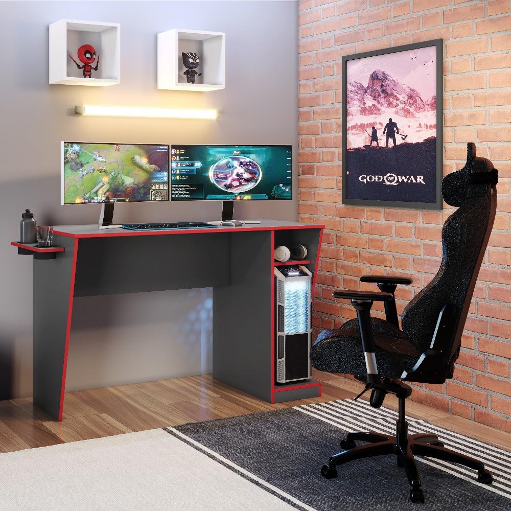 Mesa Gamer Cyber Grafite E Vermelho - JCM Movelaria