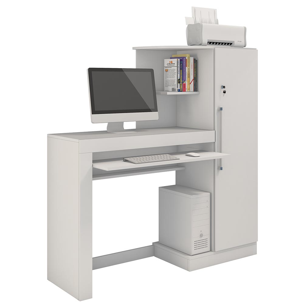 Mesa p/ Computador c/ Armário Aroeira Branco - JCM Movelaria
