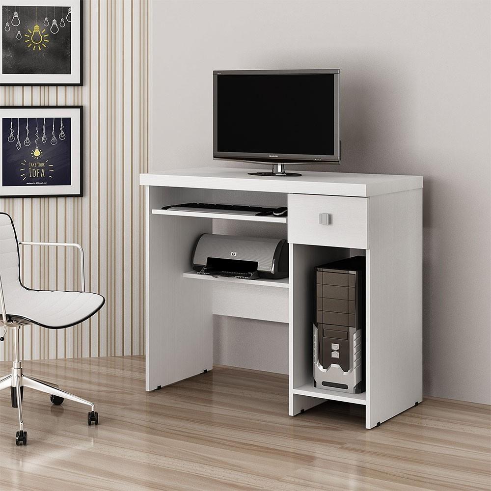 Mesa para Computador 1 Gaveta System Branco fosco - Valdemóveis