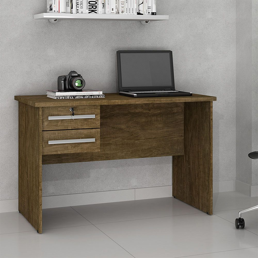 Mesa para Computador 2 Gavetas Byte Ipê - Valdemóveis