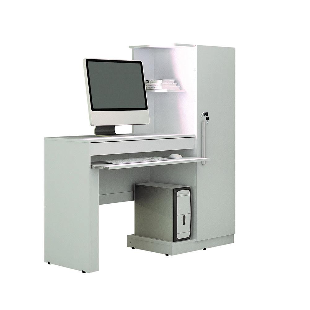 Mesa para Computador com Armário 1 Porta 1 Gaveta Office Branco Fosco - Valdemóveis