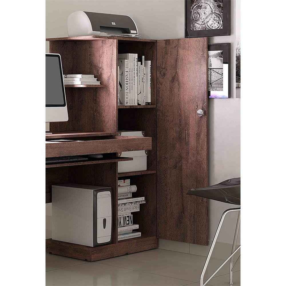 Mesa para Computador com Armário 1 Porta 1 Gaveta Office Castanho - Valdemóveis