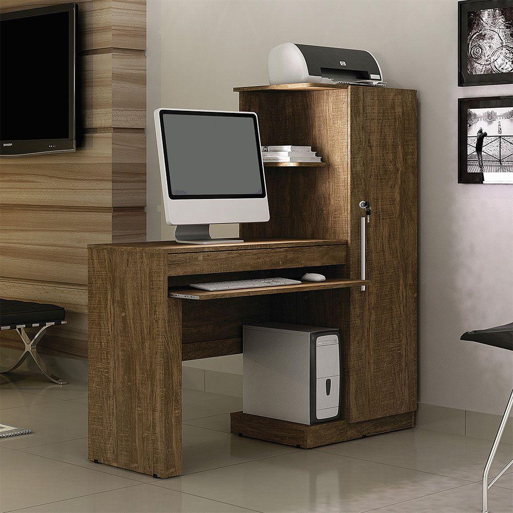 Mesa para Computador com Armário 1 Porta 1 Gaveta Office Ipê - Valdemóveis