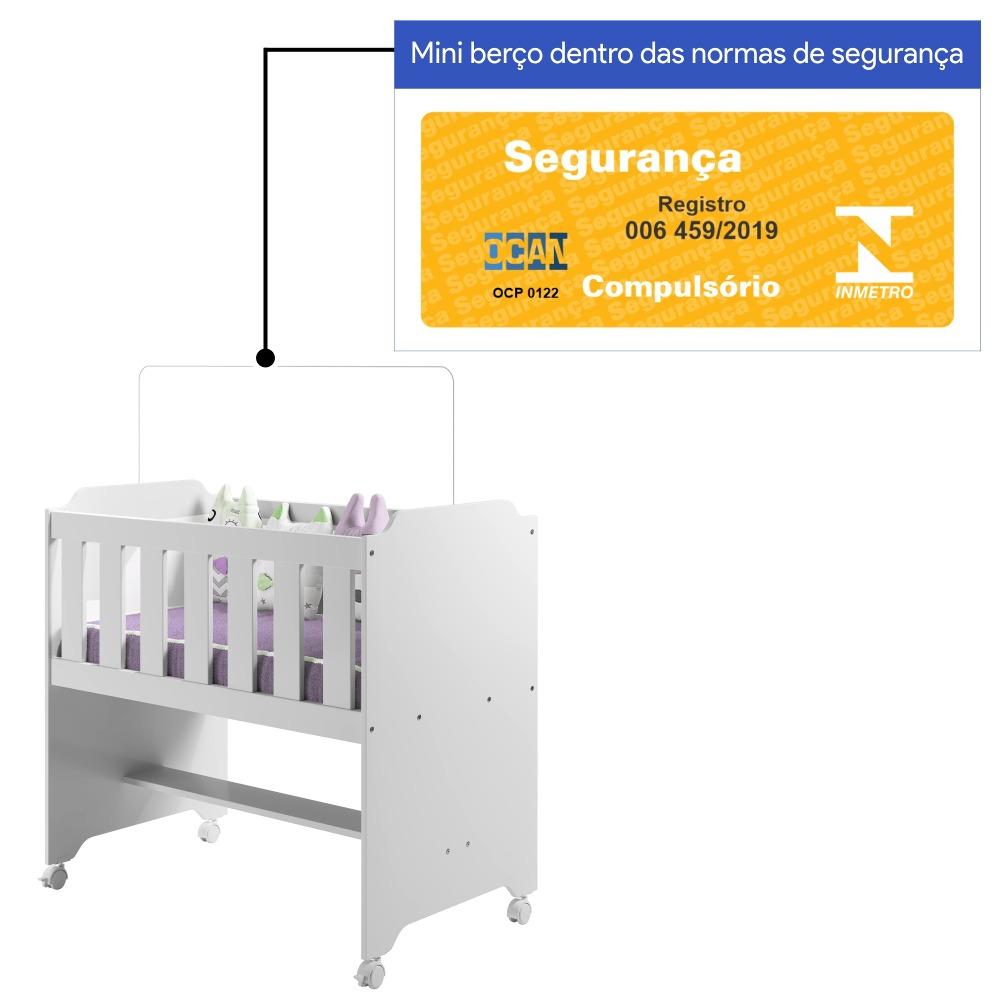 Mini Berço com Colchão - Branco - Tigus Baby