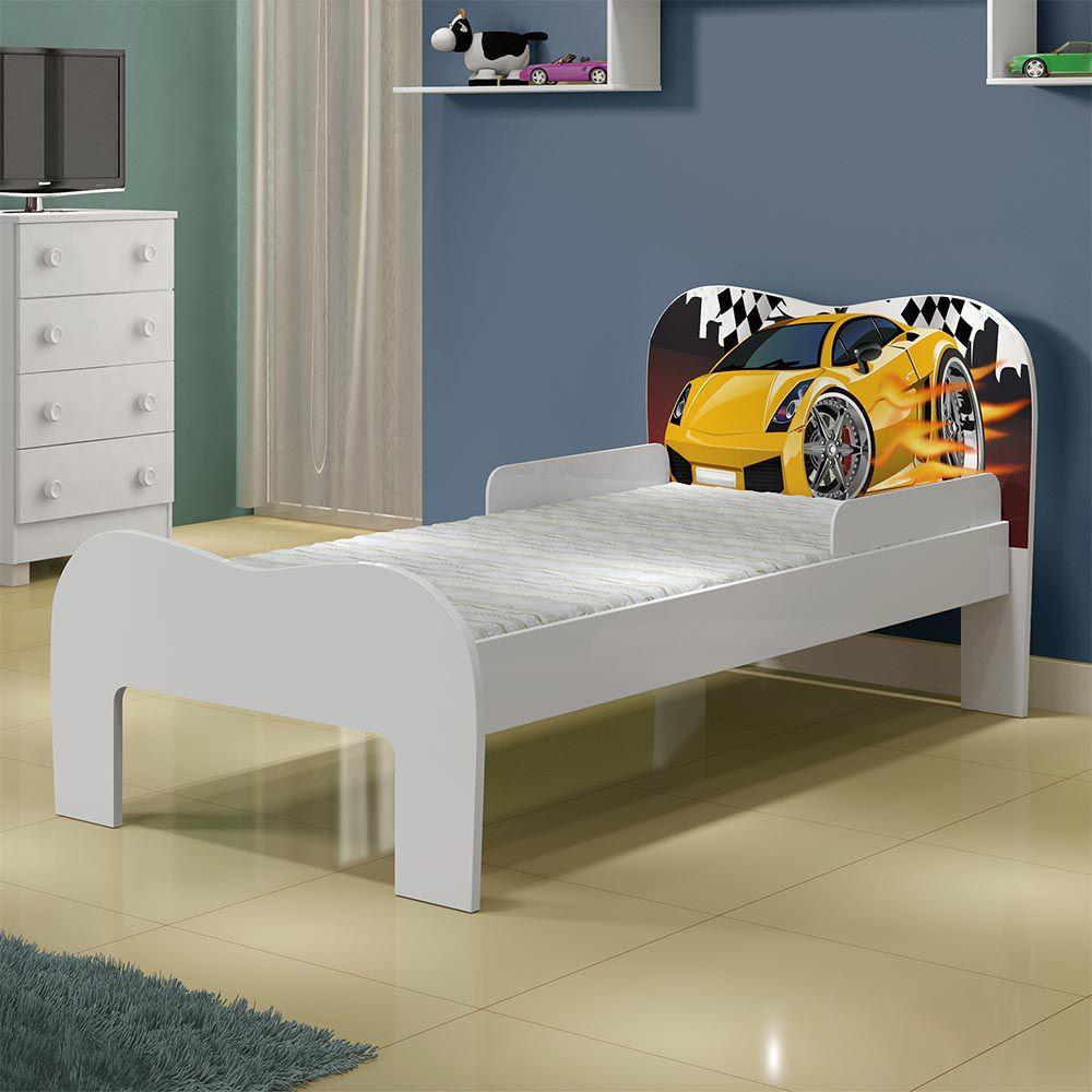 Minicama Soneca Carro Amarelo Branco - Tigus Baby