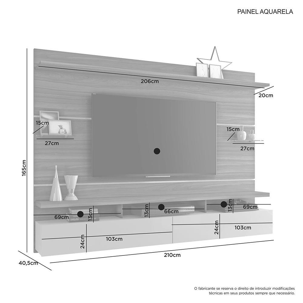 Painel Aquarela Imbuia/Off White Jcm Movelaria
