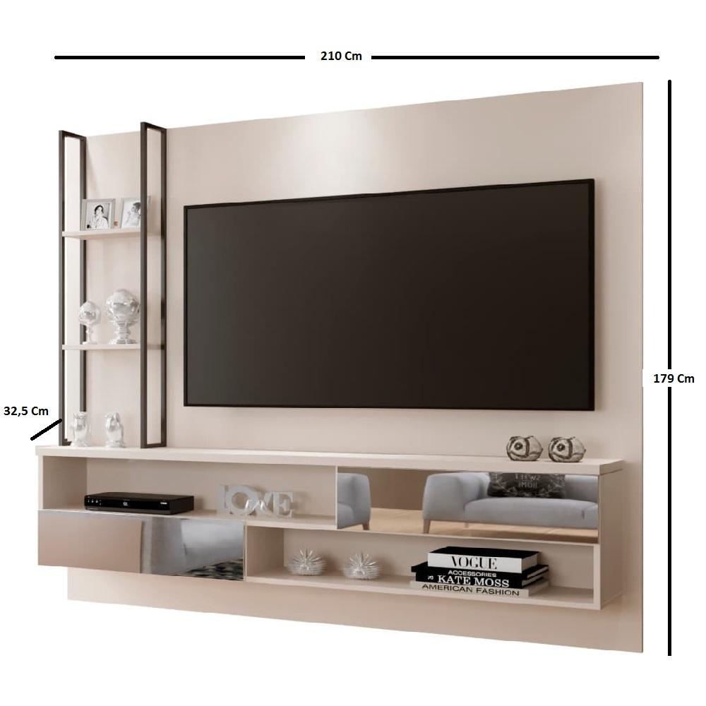 Painel com Espelho para TV até 65 Polegadas Infinity - Off White - Mavaular