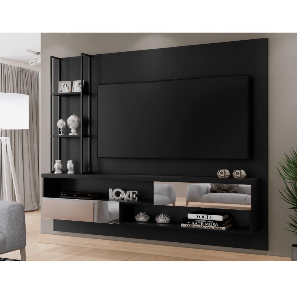 Painel com Espelho para TV até 65 Polegadas Infinity - Preto - Mavaular