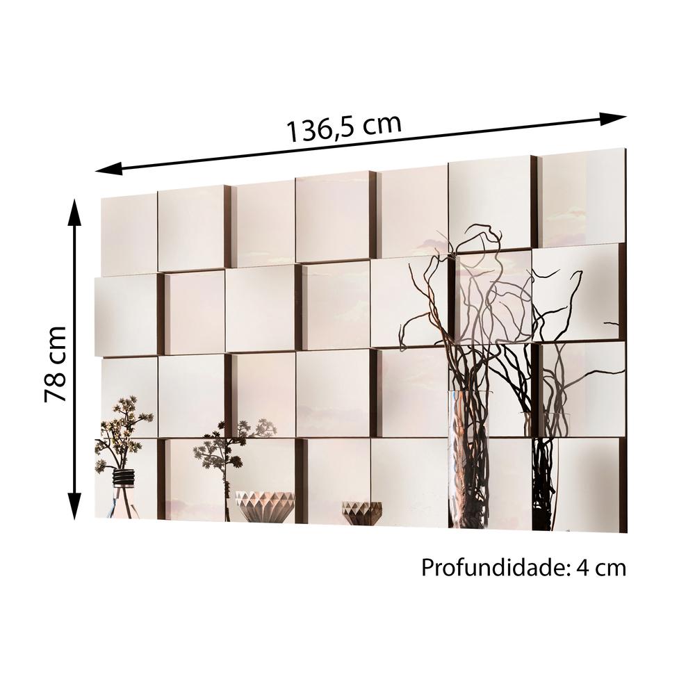 Painel Espelhado Evidence 136x78 - Preto - Cel Móveis