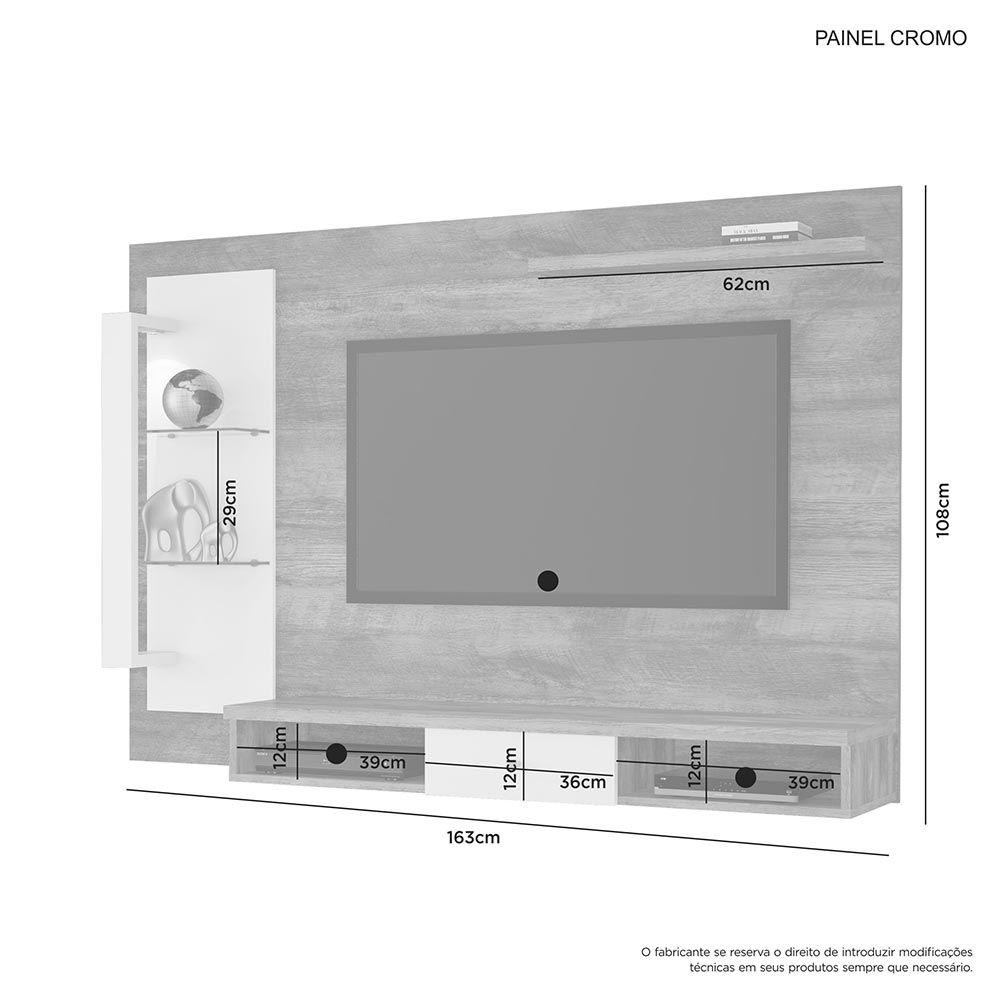 """Painel para TV até 50"""" Cromo Naturale/Off White JCM Móveis"""