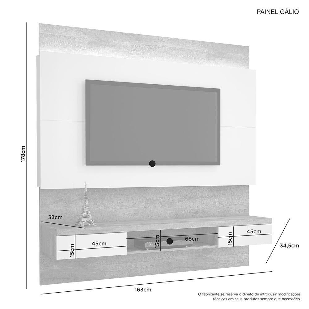 """Painel para TV até 56"""" Gálio Naturale/Off White JCM Móveis"""