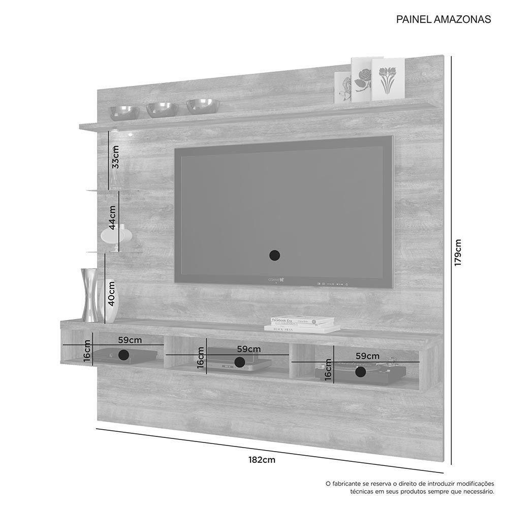 """Painel para TV até 60"""" Amazonas Nobre Soft JCM Móveis"""